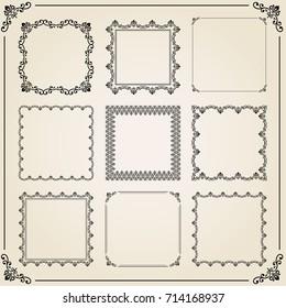 Vintage set of elements. Different square elements for decoration and design frames, cards, menus, backgrounds and monograms. Classic patterns. Set of vintage patterns