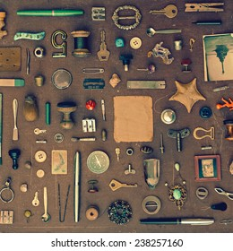 Vintage set of old things and trinkets