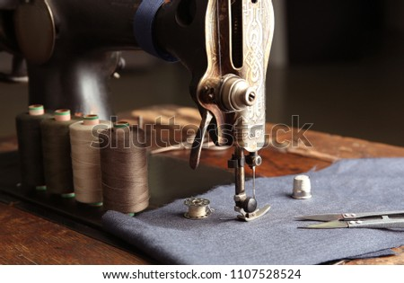 Vintage Sewing Machine Fabric Threads Closeup Stock Photo Edit Now New Vintage Sewing Machine Fabric