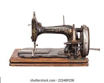 Vintage sewing machine isolated on white