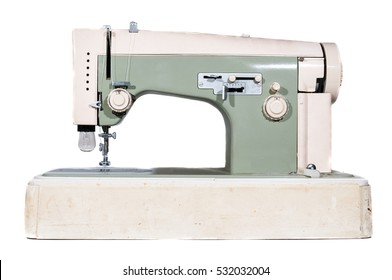 Vintage sewing machine on white background.