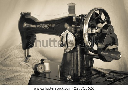 Vintage Sewing Machine Spins Thread Scissors Stock Photo Edit Now New How To Thread An Old Sewing Machine With Pictures