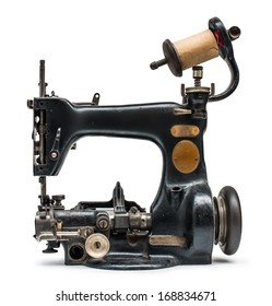 Vintage sewing machine white isolated