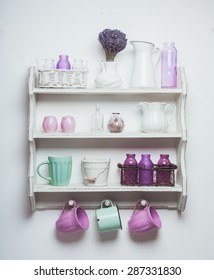 Vintage shelf in the kitchen, shabby chic style with lavender