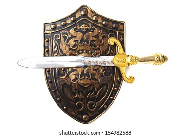 Vintage shield and sword isolated over white