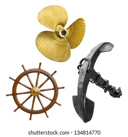 Vintage ship propeller, anchor and steering wheel in a set, isolated on white background