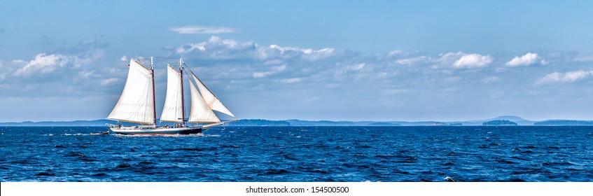 Vintage ship sailing panorama banner