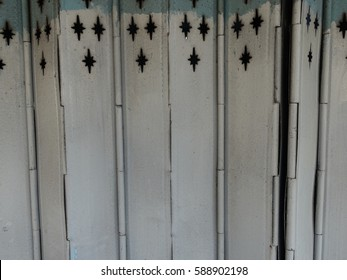 Vintage Shutter door, old rusted iron sliding gates, background and texture.