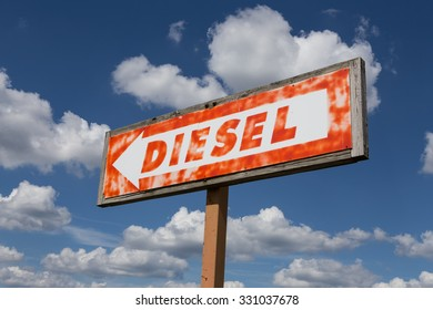 Vintage sign points to a location where diesel fuel was once available.