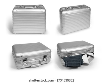 Vintage silver aluminum hard shell case with grooved structure in 4 perspectives. Full shot in 4 perspectives on white background with object shadow, isolated for cut out, no people.
