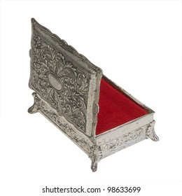Vintage Silver Finish Jewelry Box with red lining isolated on white background