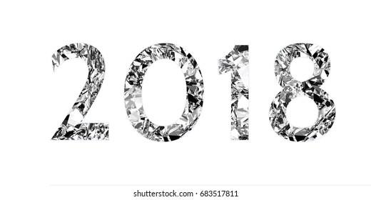 Vintage  silver foil inscription 2018 on white background. 3d render
