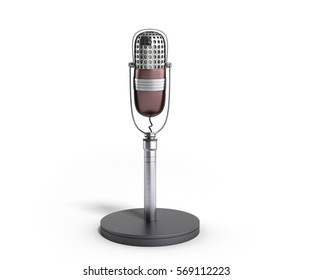 Vintage silver microphone isolated on white background 3d render