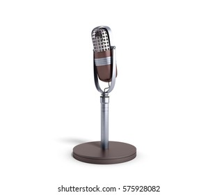 Vintage silver microphone isolated on white background 3d render image