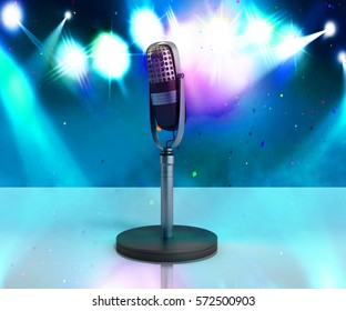 Vintage silver microphone karaoke background 3d illustration