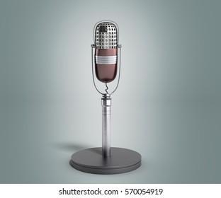 Vintage silver microphone on grey gradient background 3d render