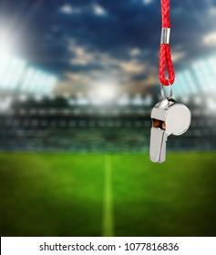 Vintage silver whistle on stadium