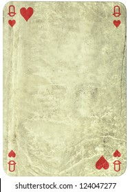 vintage simple background -playing card - queen of hearts