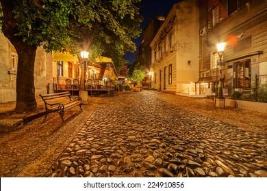 Vintage Skadarska street in Skadarlija, main bohemian quarter of Belgrade, Serbia