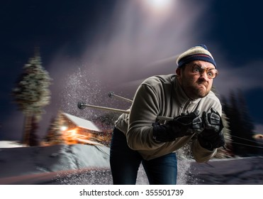 Vintage skier in glasses skiing fast at night