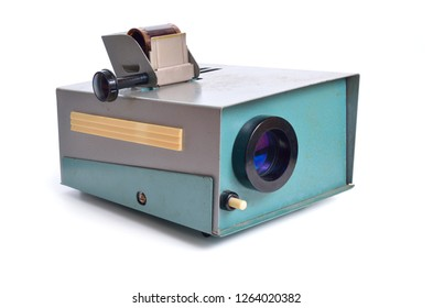 Vintage slide projector is an opto-mechanical device for showing photographic slides. Isolated on white.