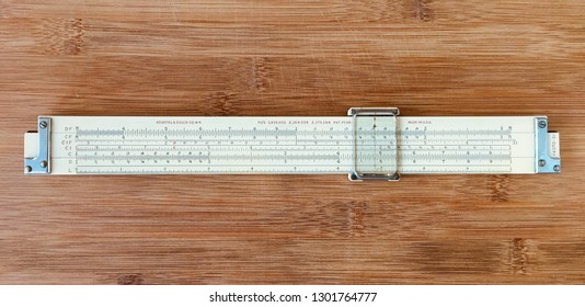 Vintage slide rule Keuffel&Esser 4070. Front view. Collecting slide rules, Miami February 2, 2019