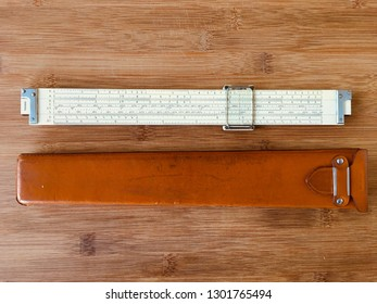 Vintage slide rule Keuffel&Esser 4070 back view and leather case. Collecting slide rules, Miami February 2, 2019