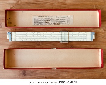 Vintage slide rule Keuffel&Esser 4070 and box. Collecting slide rules, Miami February 2, 2019