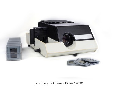 Vintage slides photography projector on a white