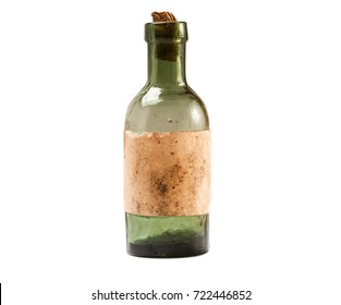 Vintage small glass bottle with paper cork isolated on white