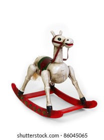 Vintage small rocking horse with red rockers on a white background