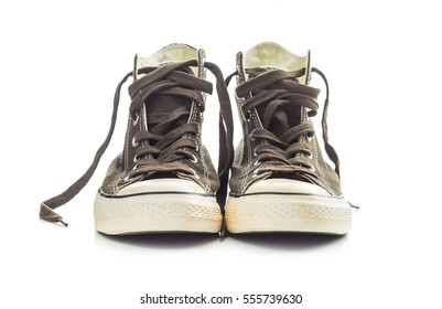 The vintage sneakers isolated on white background.
