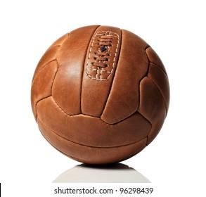vintage soccer ball on white background