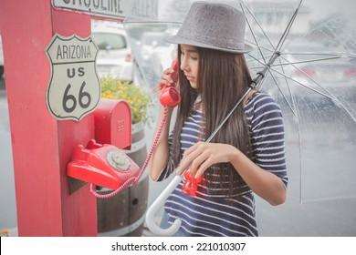 vintage social media,Young woman talking as a Vintage telephone,Vintage Phone