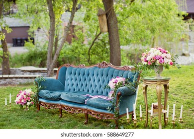 vintage sofa and flower compositions