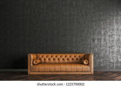 the vintage sofa in front of the black wall.