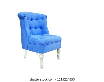 Vintage soft chair from blue suede isolated over white