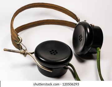 Vintage soundpowered headphones dating back about 90 years ago. Such headphones used special balanced armatures for high sensitivity due to missing amplifiers at this time.