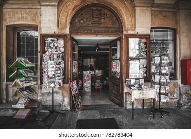 vintage souvenir shop in Varallo Sesia at top of the Sacro Monte di Varallo , Vercelli , Italy, 24 May 2017