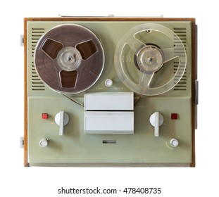 Vintage soviet magnetic audio tape reel-to-reel recorder on white background