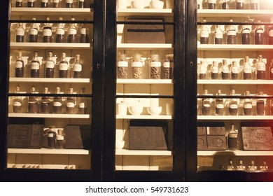 Vintage Spices Bottles on a shelf, colonial era spices