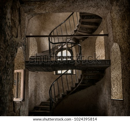 Vintage Spiral Staircase In The Castle