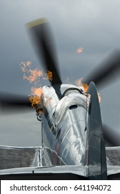 Vintage Spitfire starting up with flames coming from the exhaust