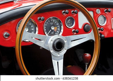Vintage sports car dashboard