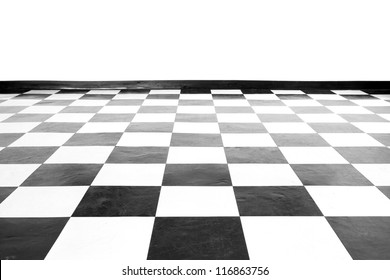 Vintage square black and white floor with wall