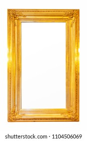 Vintage square wood mirror frame Thai traditional gold decoration object photo on isolate background texture concept for retro luxury golden wooden victorian royal frame carved.