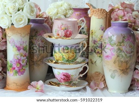 Vintage Stacked Floral Teacups Antique Flower Stock Photo Edit Now
