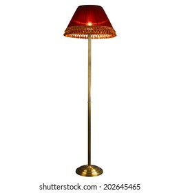 vintage stand floor lamp isolated on white