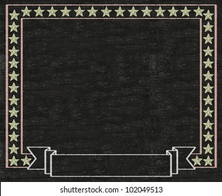 vintage stars blank banner written on blackboard background high resolution, easy to use