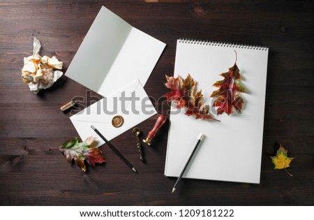 vintage stationery autumn leaves on dark stock photo edit now